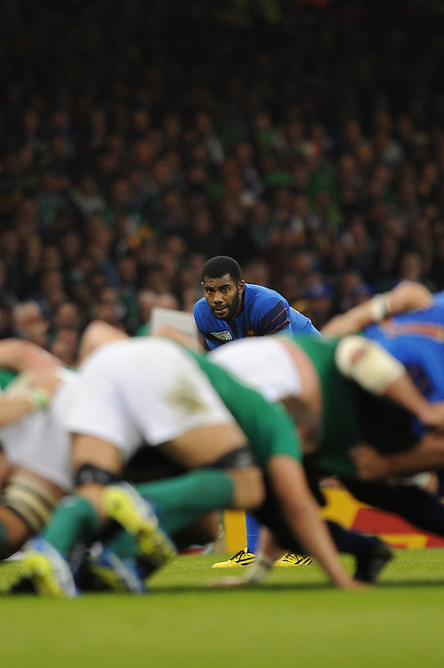 Noa Nakaitaci of France looks on during Match 39 of the Rugby World Cup 2015 between France and Ireland - 11/10/2015 - Millennium Stadium, Cardiff<br /> Mandatory Credit: Rob Munro/Stewart Communications