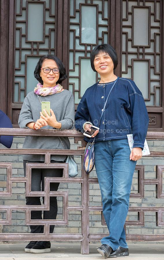 Yangzhou, Jiangsu, China.  Young Chinese Women in Casual Clothes, Slender West Lake Park.