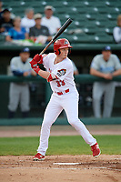 Peoria Chiefs right fielder Bryce Denton (33) at bat during a game against the West Michigan Whitecaps on May 9, 2017 at Dozer Park in Peoria, Illinois.  Peoria defeated West Michigan 3-1.  (Mike Janes/Four Seam Images)