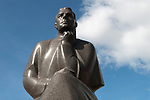 Kaunas Lithuania Statue of Maironis, the pen name of the priest Jonas Maciulus one of the most famous Lithuania poets. Town Hall Square Old Town 2017 2010s,