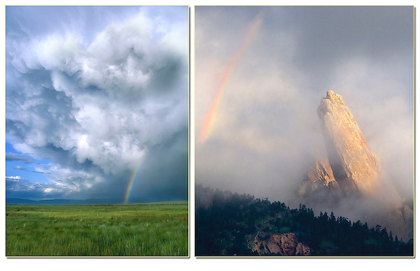 A rare morning rainbow and the Third Flatiron. <br />