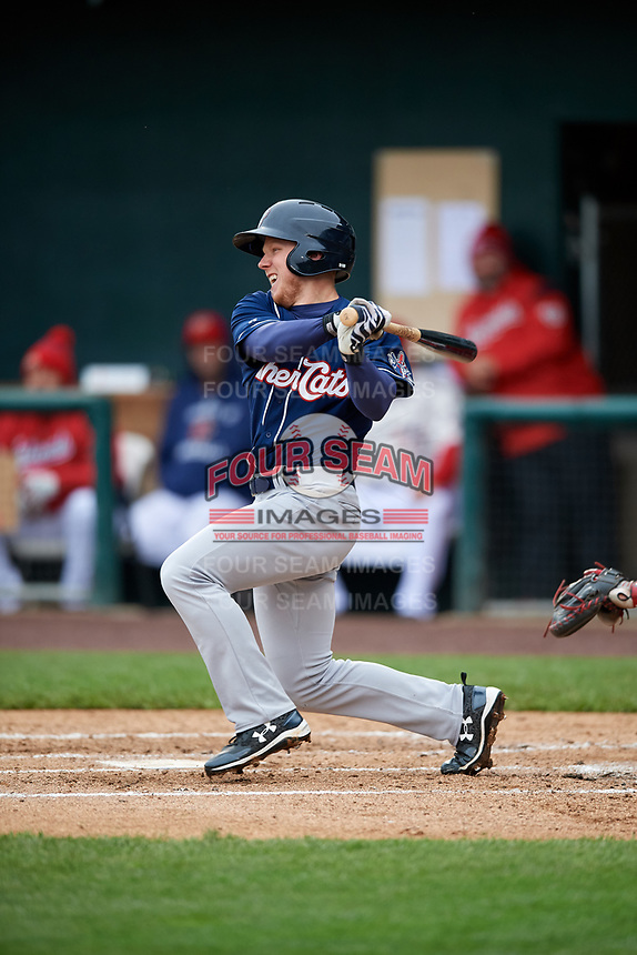 New Hampshire Fisher Cats right fielder Andrew Guillotte (1) follows through on a swing during the second game of a doubleheader against the Harrisburg Senators on May 13, 2018 at FNB Field in Harrisburg, Pennsylvania.  Harrisburg defeated New Hampshire 2-1.  (Mike Janes/Four Seam Images)