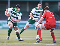 20th February 2021; Trailfinders Sports Club, London, England; Trailfinders Challenge Cup Rugby, Ealing Trailfinders versus Doncaster Knights; Jerry Sexton of Doncaster Knights prepares to tackle Adam Korczyk of Ealing Trailfinders