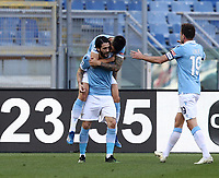 Football, Serie A: S.S. Lazio - Sampdoria, Olympic stadium, Rome, February 20, 2020. <br /> Lazio's Luis Alberto (in front of) celebrates after scoring with his teammate Joaquin Correa (behind) and captain Senad Lulic (r) during the Italian Serie A football match between S.S. Lazio and Sampdoria at Rome's Olympic stadium, Rome, on February 20, 2021.  <br /> UPDATE IMAGES PRESS/Isabella Bonotto