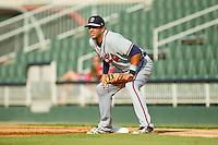 Rome Braves first baseman Edison Sanchez (2) on defense against the Kannapolis Intimidators at CMC-Northeast Stadium on August 25, 2013 in Kannapolis, North Carolina.  The Intimidators defeated the Braves 9-0.  (Brian Westerholt/Four Seam Images)