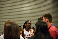 DENVER, CO--Chiney Ogwumike speaks with the media during the WBCA All American awards at the Pepsi Center for the 2012 NCAA Women's Final Four festivities in Denver, CO.