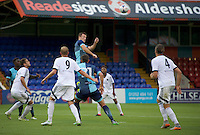 Garry Thompson of Wycombe Wanderers goes up for the ball during the Friendly match between Aldershot Town and Wycombe Wanderers at the EBB Stadium, Aldershot, England on 26 July 2016. Photo by Alan  Stanford.