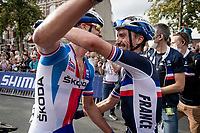 Julian Alaphilippe's (FRA/Deceuninck - Quick Step) first emotions post-race as he is congratulated by his friend and (Deceuninck-Quickstep) teammate Zdenek Stybar (CZE/Deceuninck - Quick Step)<br /> <br /> Elite Men World Championships - Road Race<br /> from Antwerp to Leuven (268.3km)<br /> <br /> UCI Road World Championships - Flanders Belgium 2021<br /> <br /> ©kramon