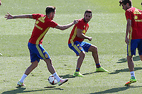 Spanish Saul Iniguez and Koke Resurrecccion during the second training of the concentration of Spanish football team at Ciudad del Futbol de Las Rozas before the qualifying for the Russia world cup in 2017 August 30, 2016. (ALTERPHOTOS/Rodrigo Jimenez) /NORTEPHOTO