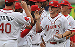 Jason Thompson (2) of the Greenville Drive, Class A affiliate of the Boston Red Sox, is introduced before the Opening Day game against the Augusta GreenJackets on April 7, 2011, at Fluor Field at the West End in Greenville, S.C. Photo by Tom Priddy / Four Seam Images