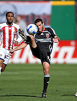 DC United midfielder Ben Olsen (14) tries to keep control of the ball. DC United defeated Chivas USA 2-1, at RFK Stadium in Washington DC, Sunday May 6, 2007.
