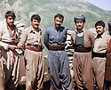 Iraq 1981 .In Tujela, on the border between Iraq and Iran,2nd from left Azad Sagerman , 3rd, Nawshirwan Mustafa.<br />