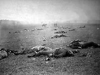 A Harvest of Death. Gettysburg, July 1863. Timothy O'Sullivan. (War Dept.)<br /> Exact Date Shot Unknown<br /> NARA FILE #: 165-SB-36<br /> WAR & CONFLICT BOOK #:  253
