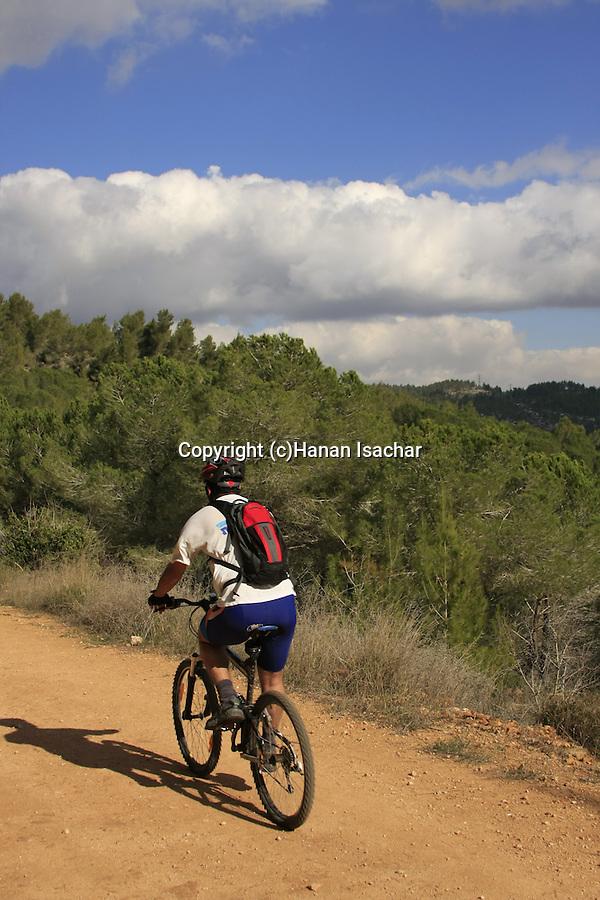 Israel, Jerusalem Mountains, biking on Mount Eitan