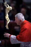 Cardinal cardinal Giuseppe Versaldi,Pope Francis the ceremony of the Good Friday Passion of the Lord Mass in Saint Peter's Basilica at the Vatican.March 30, 2018