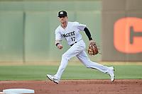 Charlotte Knights third baseman Zach Remillard (17) on defense against the Nashville Sounds at Truist Field on June 4, 2021 in Charlotte, North Carolina. (Brian Westerholt/Four Seam Images)