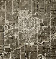 historical aerial photograph of Orange, California, 1946