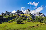 Switzerland, Canton Valais, near Leukerbad: Leeshoerner mountains (Bernese Alps) above Dala Valley | Schweiz, Kanton Wallis, bei Leukerbad: die Leeshoerner (Berner Alpen) thronen oberhalb des Dalatals
