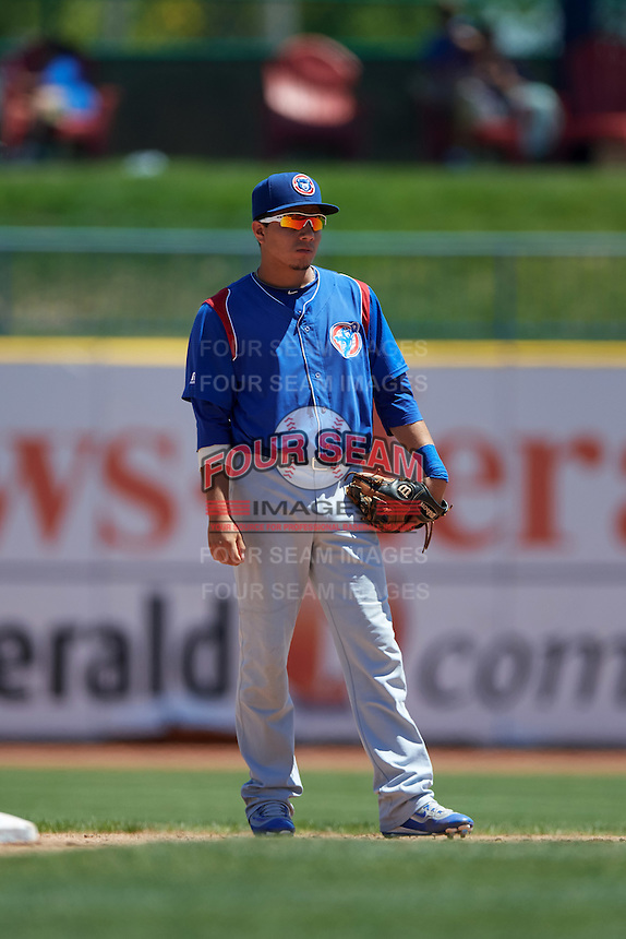 South Bend Cubs second baseman Carlos Sepulveda (2) during a game against the Lake County Captains on July 27, 2016 at Classic Park in Eastlake, Ohio.  Lake County defeated South Bend 5-4.  (Mike Janes/Four Seam Images)