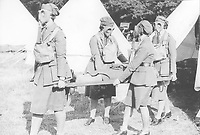 BNPS.co.uk (01202 558833)<br /> Pic: Pen&Sword/BNPS<br /> <br /> PICTURED: The 1932 F.A.N.Y. camp. A combined gas drill/First Aid exercise.<br /> <br /> These inspiring photos of nurses on the front line feature in a new book which charts a century's heroic wartime service.<br /> <br /> The First Aid Nursing Yeomanry (FANY) was founded in 1907 by Captain Edward Baker with the early recruits trained in cavalry, signalling and camping.<br /> <br /> They were despatched to France at the outset for World War One to tend to injured troops on the battlefield, setting up hospitals for the many casualties. Other heroines dragged wounded personnel from exploding ammunition dumps.<br /> <br /> The brave nurses were again in the centre of the action in World War Two, performing sterling work in the harshest of conditions.<br /> <br /> Their stories feature in The First Aid Nursing Yeomanry in War and Peace, by Hugh Popham.