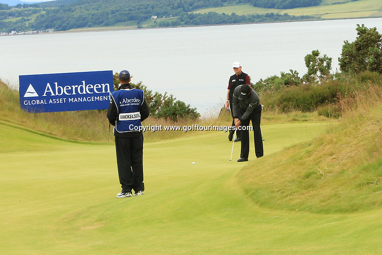 Phil Mickelson during the second round of the 2012 Aberdeen Asset Management Scottish Open being played over the links at Castle Stuart, Inverness, Scotland from 12th to 14th July 2012:  Stuart Adams www.golftourimages.com:13th July 2012