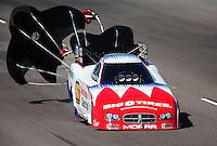 Oct. 15, 2011; Chandler, AZ, USA; NHRA funny car driver Johnny Gray during qualifying at the Arizona Nationals at Firebird International Raceway. Mandatory Credit: Mark J. Rebilas-