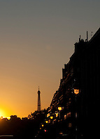 A Parisian street and the Eiffel Tower, Paris, France