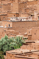 Morocco.  Ait Benhaddou Ksar, a World Heritage Site.  New House Construction in the Midst of Old.