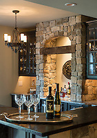 Rustic home bar interior design.