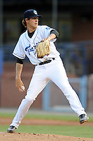 Asheville Tourists starting pitcher Ben Alsup #22 delivers a pitch during a game against the Lexington Legends at McCormick Field on May 7, 2012 in Asheville, North Carolina . The Tourists defeated the Legends 4-3. (Tony Farlow/Four Seam Images).