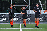 assistant referee Robby Celis , referee Jana Van Laere , assistant referee Erwin Hermans pictured before a female soccer game between  Racing Genk Ladies and Sporting du pays de Charleroi on the fourth matchday of the 2021-2022 season of the Belgian Scooore Womens Super League , friday 10 September 2021  in Genk , Belgium . PHOTO SPORTPIX   STIJN AUDOOREN