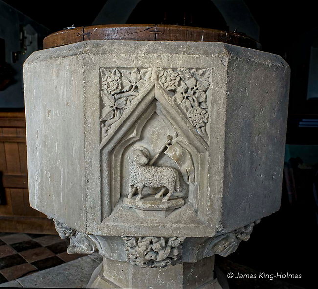 The west face of the font of St Lawrence Church, Tubney, Oxfordshire, UK. This is the only Protestant church designed by Augustus Pugin. The interior fittings were designed by him and remain unchanged since its consecration in 1847.