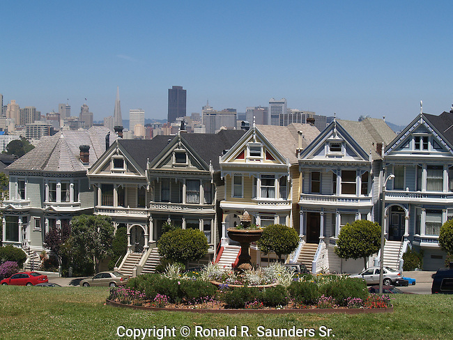 Row of Victorian Homes unique for its colorful (colourful)pastel exteriors, and typically seen in San Francisco, California