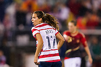 Tobin Heath (17) of the United States (USA) celebrates scoring a goal. The United States (USA) and Germany (GER) played to a 2-2 tie during an international friendly at Rentschler Field in East Hartford, CT, on October 23, 2012.