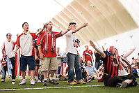USA fans react to a foul on a US player. The Red Bulls hosted a FIFA World Cup viewing party for the USA v Italy match at the Giants Stadium practice bubble, East Rutherford, NJ, June 17, 2006.