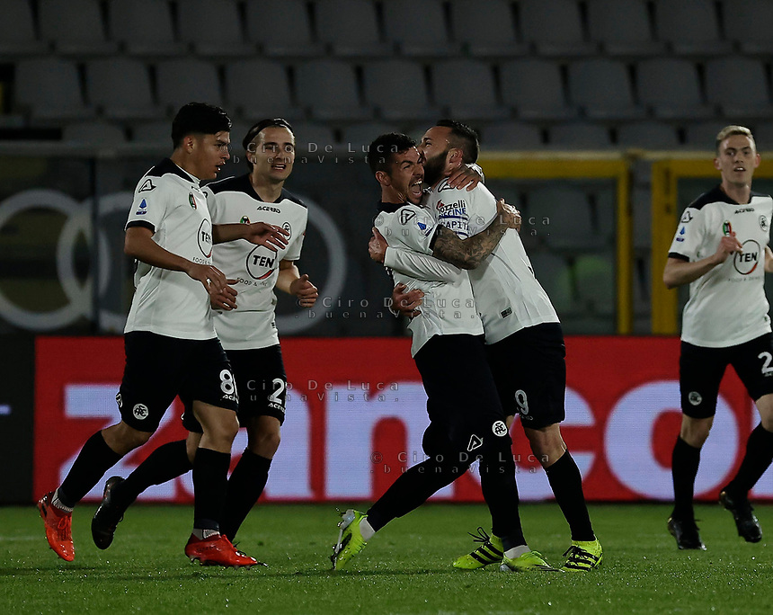 Diego Farias celebrates after scores during the  italian serie a soccer match,Spezia Inter Milan at  the STadio Picco in La Spezia Italy ,