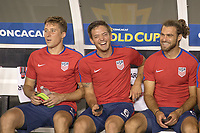 Tampa, FL - July 12, 2017: Matt Besler and Kelyn Rowe and Graham Zusi The USMNT (USA) defeated Martinique (MAR) 3-2 in a 2017 Gold Cup group stage match at Raymond James Stadium.