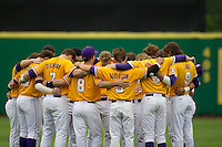 LSU Tigers team huddle before a Southeastern Conference baseball game against the Texas A&M Aggies on April 25, 2015 at Alex Box Stadium in Baton Rouge, Louisiana. Texas A&M defeated LSU 6-2. (Andrew Woolley/Four Seam Images)
