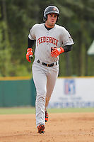Frederick Keys catcher Austin Wynns (18) running the bases during a game against the Myrtle Beach Pelicans at Ticketreturn.com Field at Pelicans Ballpark on April 10, 2016 in Myrtle Beach, South Carolina. Myrtle Beach defeated Frederick 7-5. (Robert Gurganus/Four Seam Images)