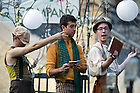 """August 20, 2012; Actors, from left, Ed Wasserman as Snout, Spencer Neiman as Flute and John Corr as Peter Quince perform in the Shakespeare play, """"A Midsummer Night's Dream"""" on the Main Building Quad. Photo by Barbara Johnston/University of Notre Dame"""