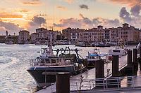 France, Pyrénées-Atlantiques (64), Pays-Basque, Saint-Jean-de-Luz, lumière du soir sur le port de pêche  // France, Pyrenees Atlantiques, Basque Country, Saint Jean de Luz, Fishing port