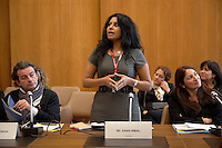 Switzerland. Geneva. World Health Organisation (WHO). Stop TB Partnership. Workshop with a group of national ambassadors against tuberculosis: Zaal Chikobava, Georgia (L), theatre director. Rania Ismail (C), Jordan, actress. Sadia Kaenzig (R), International Federation of Red Cross and Red Crescent Societies, Health Communications, is also attending the workshop. 5.12.2011 © WHO /Didier Ruef