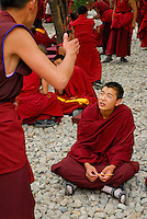 Novice Gelugpa monk claps for emphasis while debating Buddhist philosophy in the courtyard at Drepung monastery, Lhasa, Tibet, China.