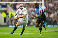 Thomas Waldrom of England in action during the QBE International between England and Fiji at Twickenham on Saturday 10th November 2012 (Photo by Rob Munro)