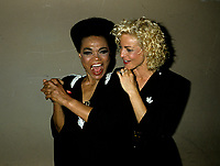 Montreal (Qc) CANADA - File Photo - circa 1987-<br /> Eartha Kitt (L) and Marjolaine (marjo) Morin<br /> before their concert together<br /> -Photo (c)  Images Distribution