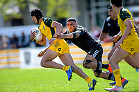 Australia's Tolutau Koula in action during the rugby union match between New Zealand Schools and Australia Under-18s at St Paul's Collegiate in Hamilton, New Zealand on Friday, 4 October 2019. Photo: Dave Lintott / lintottphoto.co.nz