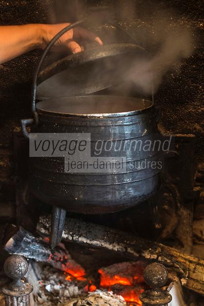 France, Ille-et-Vilaine (35),  Miniac-Morvan: Cuisson en cocotte à la cheminée du jarret de veau en pot au feu recette de Didier Delaunay Restaurant: L'Eden Brug / France, Ille et Vilaine, Miniac-Morvan