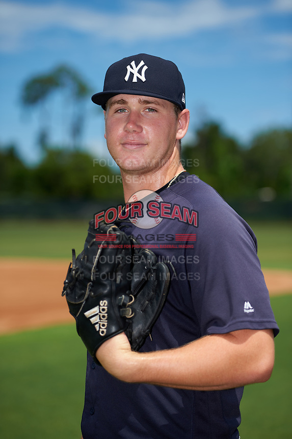 GCL Yankees East pitcher Zach Greene (13) poses for a photo before a Gulf Coast League game against the GCL Phillies West on August 3, 2019 at the Carpenter Complex in Clearwater, Florida.  The GCL Yankees East defeated the GCL Phillies West 4-0, the second game of a doubleheader.  (Mike Janes/Four Seam Images)