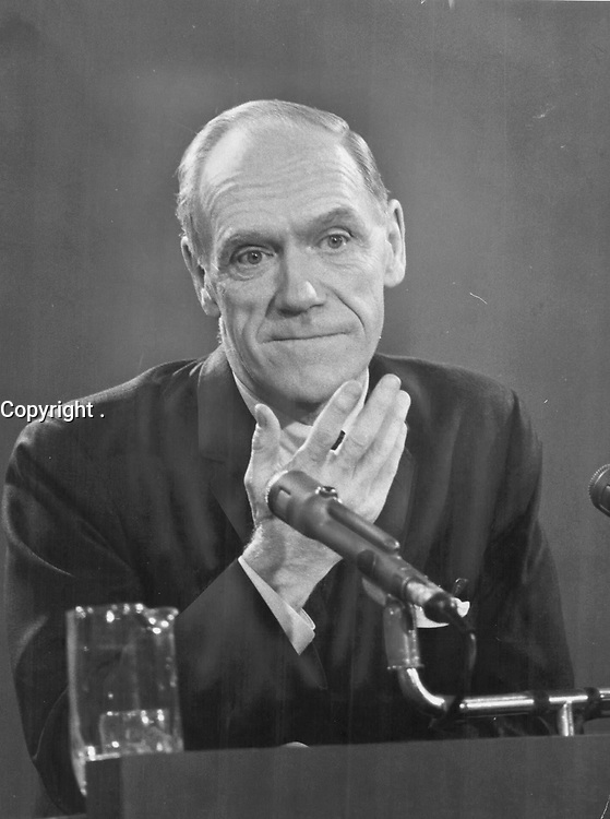 1968 FILE PHOTO - ARCHIVES -<br /> <br /> Canadian Finance Minister Mitchell Sharp. 'Quebec-Ottawa collision would be a national disaster'<br /> <br /> PHOTO : Reg INNELL - Toronto Star Archives - AQP