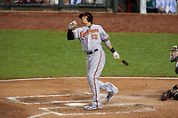 Baltimore Orioles Manny Machado bats during the MLB All-Star Game on July 14, 2015 at Great American Ball Park in Cincinnati, Ohio.  (Mike Janes/Four Seam Images)